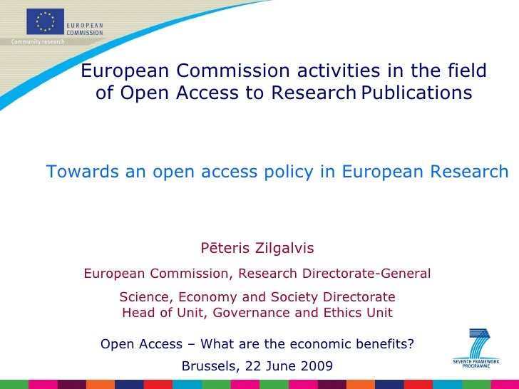 Towards an open access policy in European Research