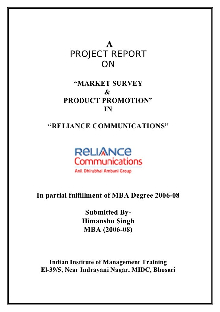 "A          PROJECT REPORT                ON          ""MARKET SURVEY                 &        PRODUCT PROMOTION""           ..."