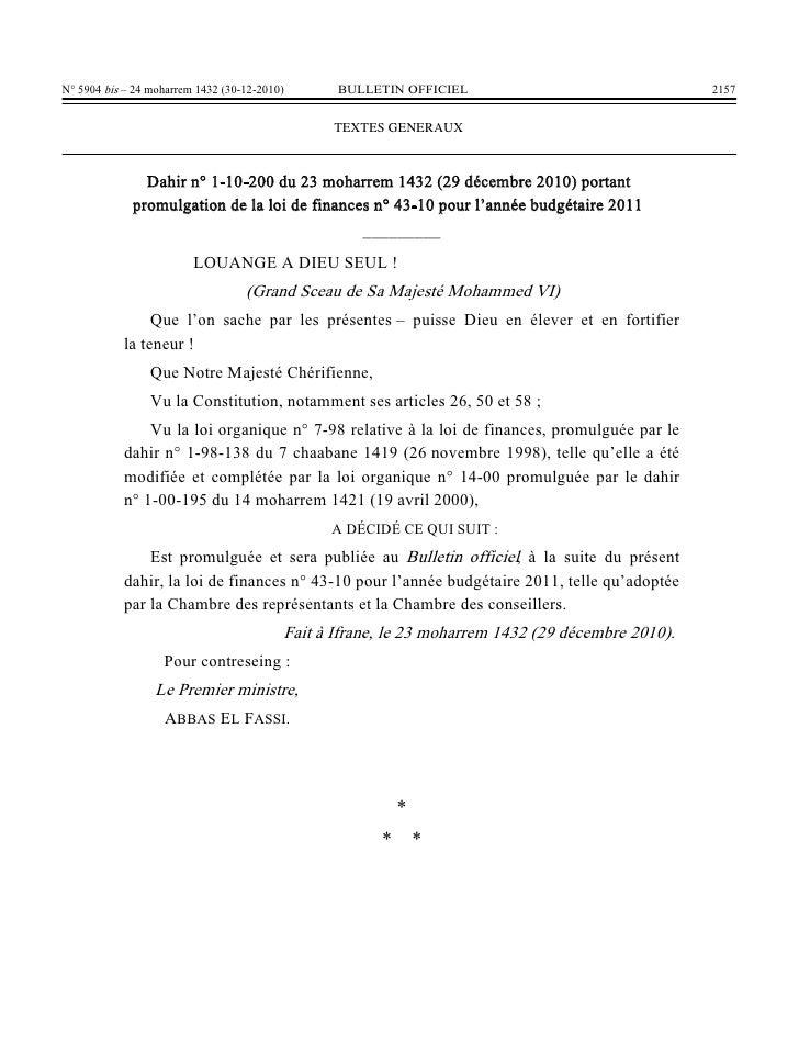 Loi des finances 2010 maroc