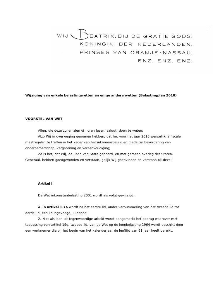 220909 Belastingplan 2010