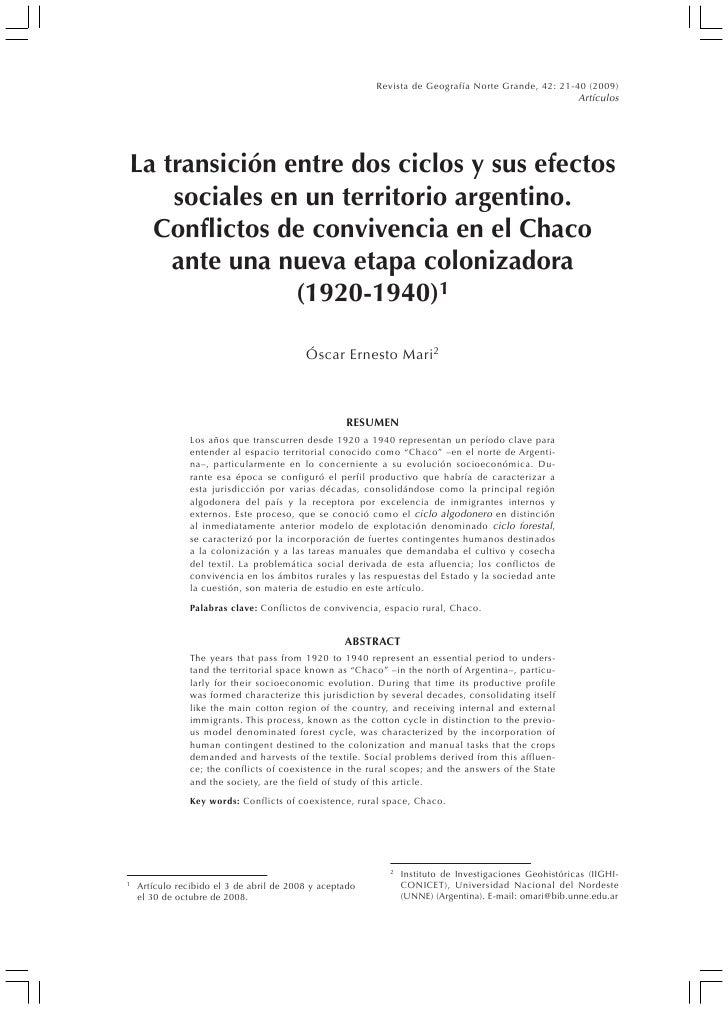 L A TRANSICIÓN ENTRE DOS    CICLOS Y SUS EFECTOS SOCIALES EN UN TERRITORIO ARGENTINO .Grande,                             ...