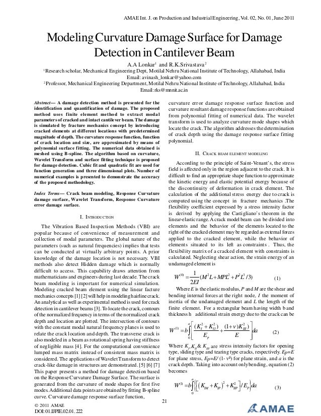 AMAE Int. J. on Production and Industrial Engineering, Vol. 02, No. 01, June 2011  Modeling Curvature Damage Surface for D...