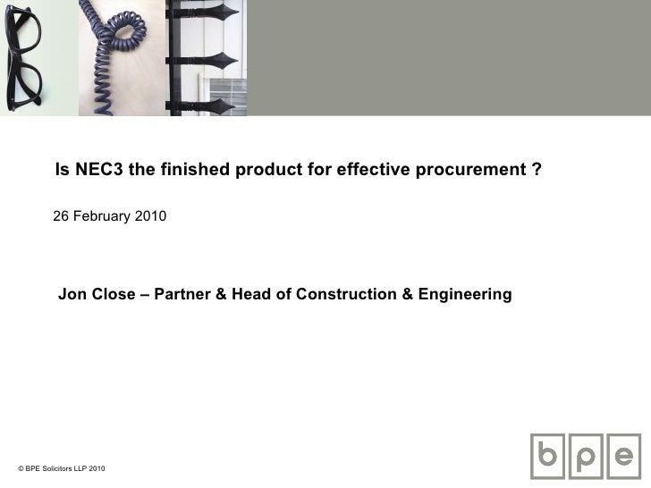 Effective procurement using NEC3