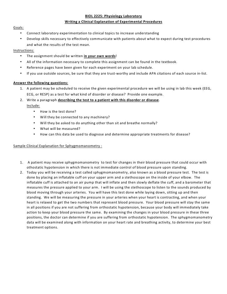BIOL2225:PhysiologyLaboratory                                WritingaClinicalExplanationofExperimentalProcedures...