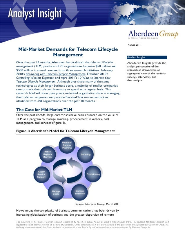 August, 2011  Mid-Market Demands for Telecom Lifecycle               Management                                           ...