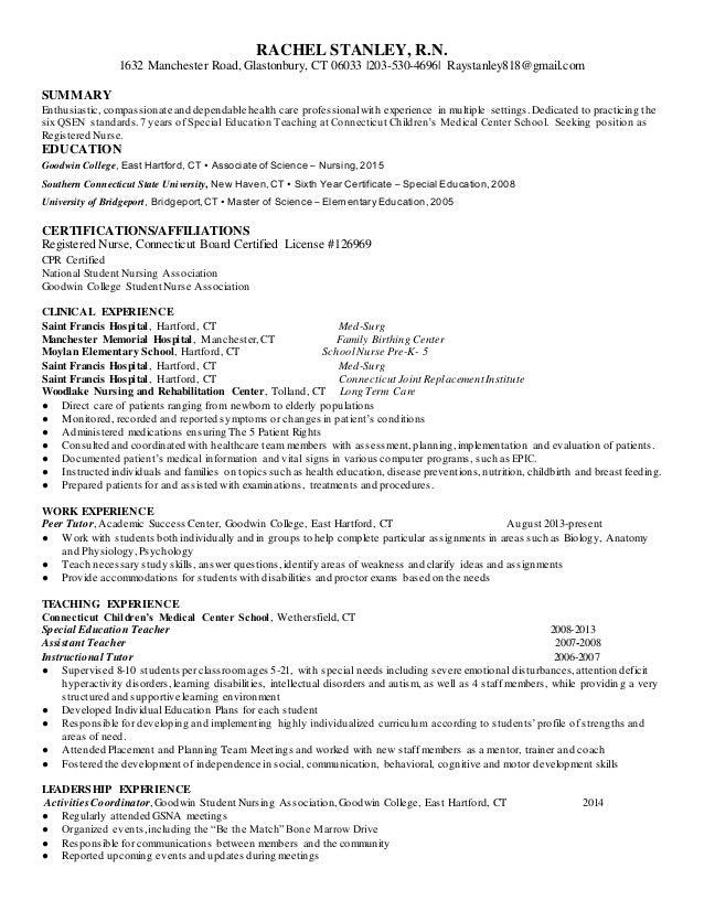 Nursing school admissions resume