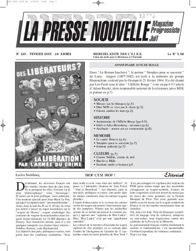FEV 2005 n°223 OK  2/03/05  19:35  Page 1  LA PRESSE NOUVELLE N° 223 - FEVRIER 2005 - 24e A N NÉE  Magazine Progressiste J...