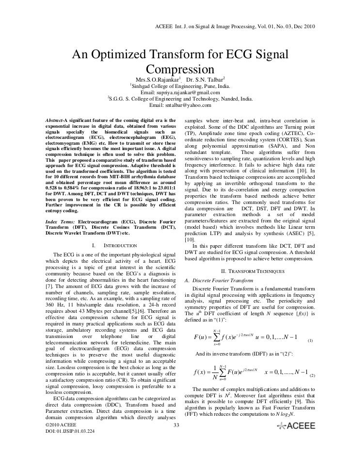 ACEEE Int. J. on Signal & Image Processing, Vol. 01, No. 03, Dec 2010            An Optimized Transform for ECG Signal   ...