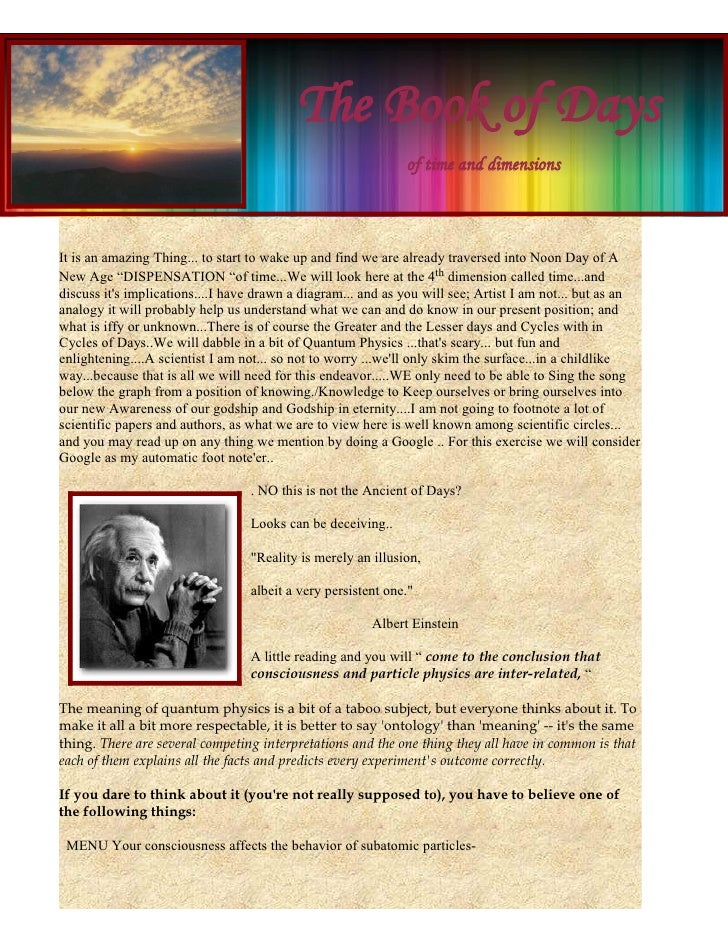 The Book of Days                                                               of time and dimensions    It is an amazing ...