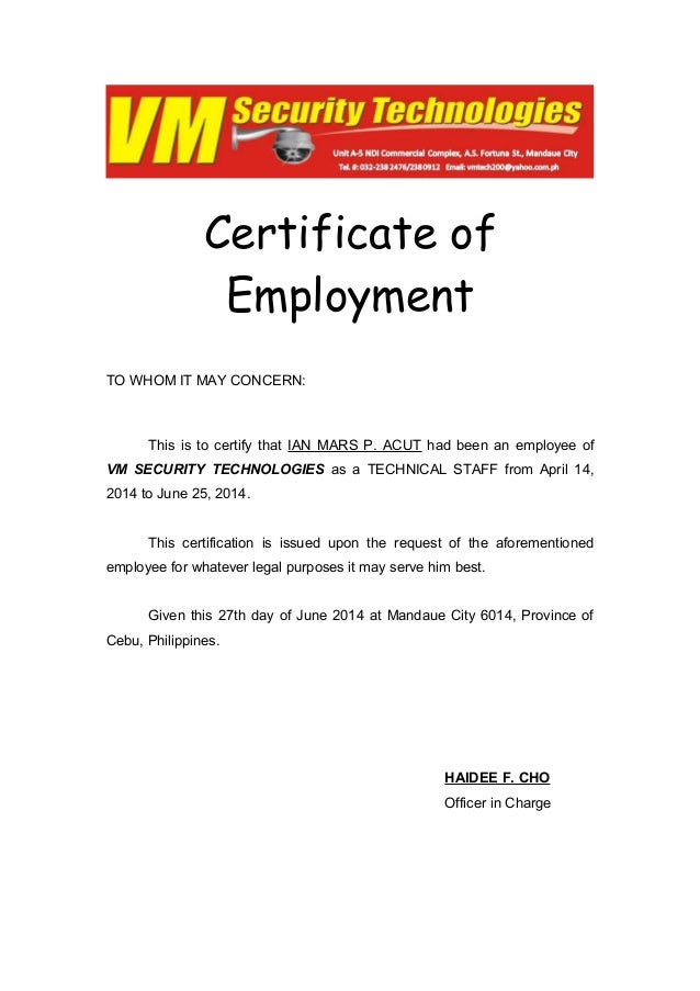certificate of employment vm security technologies