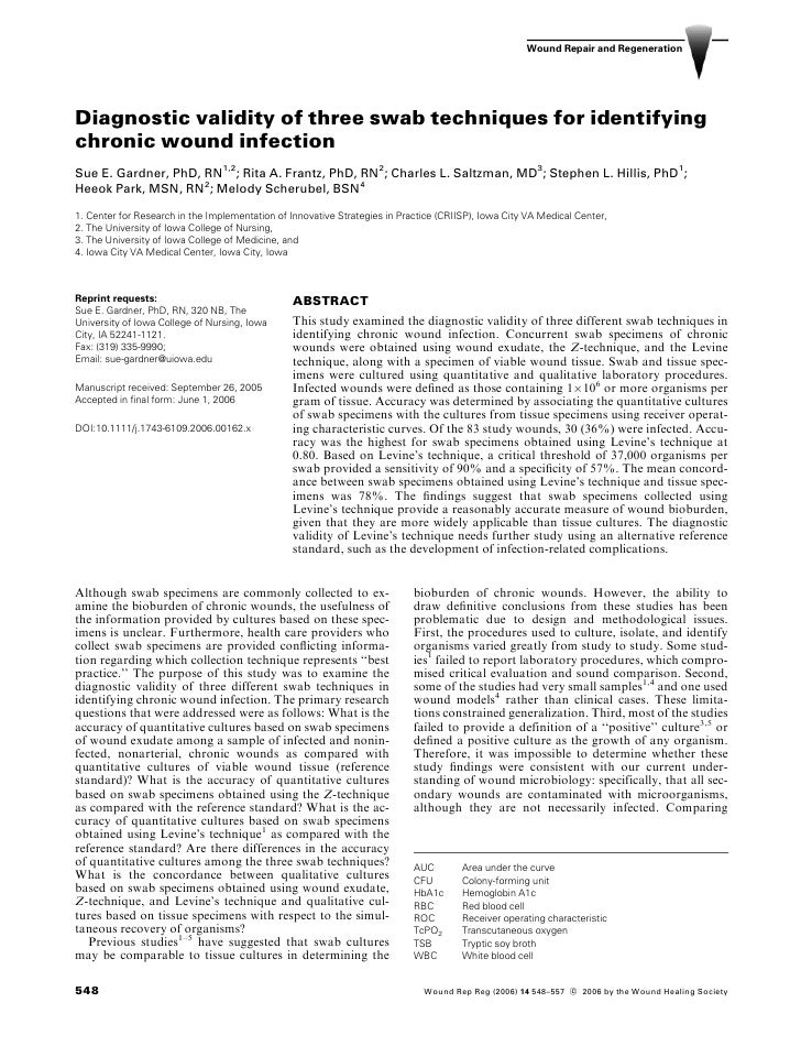 Wound Repair and Regeneration     Diagnostic validity of three swab techniques for identifying chronic wound infection Sue...