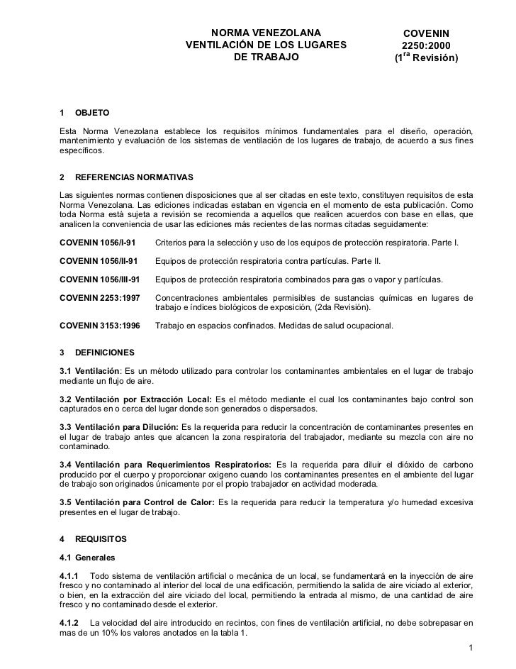 NORMA VENEZOLANA                                        COVENIN                                   VENTILACIÓN DE LOS LUGAR...