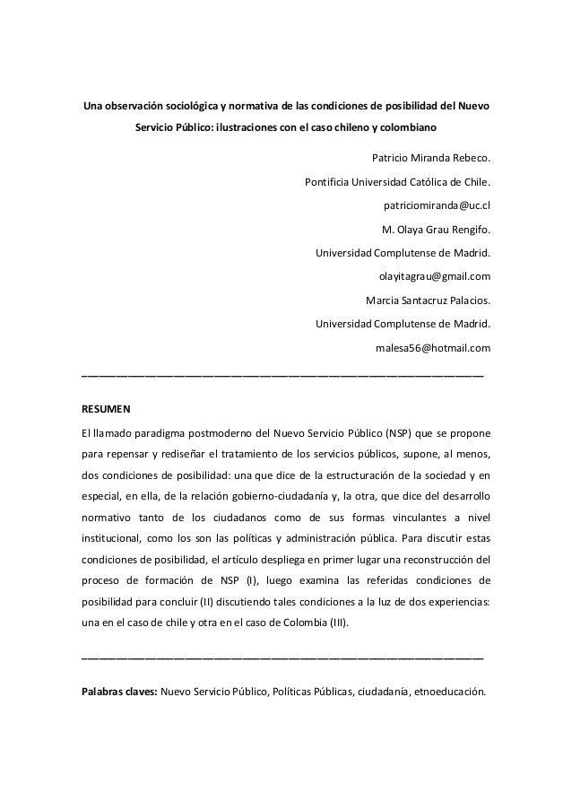 Una observación sociológica y normativa de las condiciones de posibilidad del Nuevo Servicio Público: ilustraciones con el...