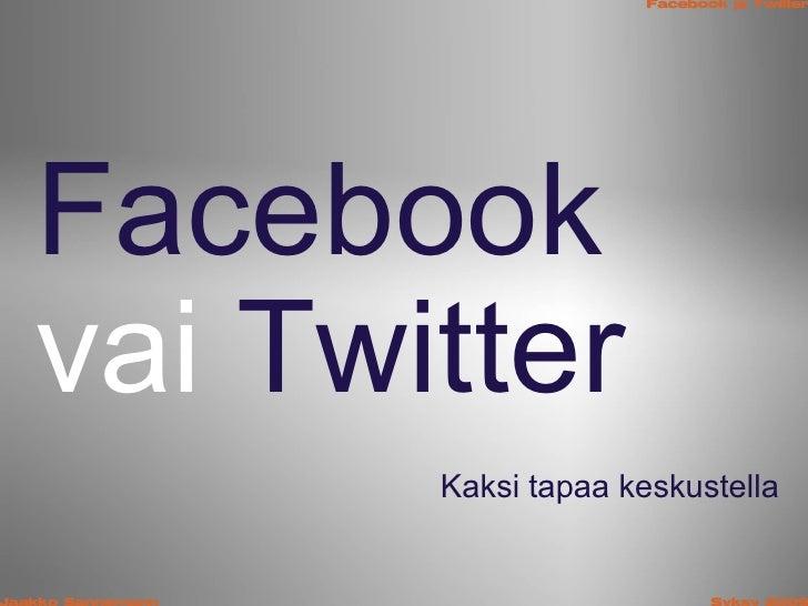 Facebook  vai Twitter Kaksi tapaa keskustella