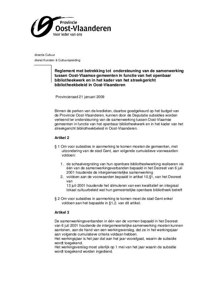 directie Cultuurdienst Kunsten & Cultuurspreiding               Reglement met betrekking tot ondersteuning van de samenwer...