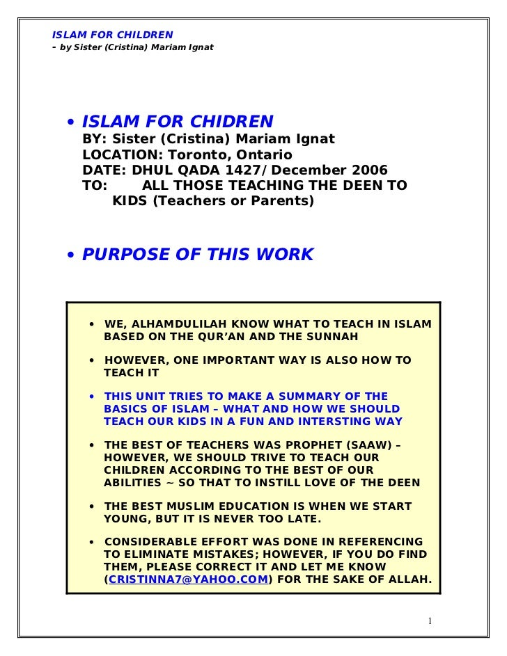 ISLAM FOR CHILDREN- by Sister (Cristina) Mariam Ignat   • ISLAM FOR CHIDREN      BY: Sister (Cristina) Mariam Ignat      L...