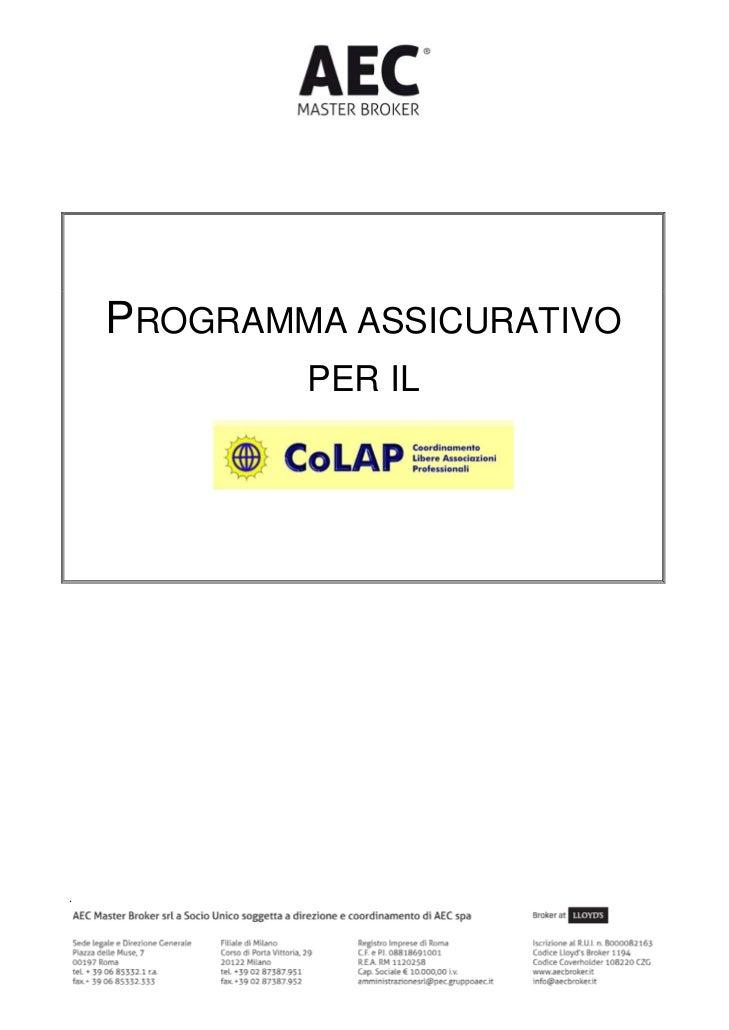 Programma Assicurativo completo CoLap Coordinamento Libere Associazioni Professionali