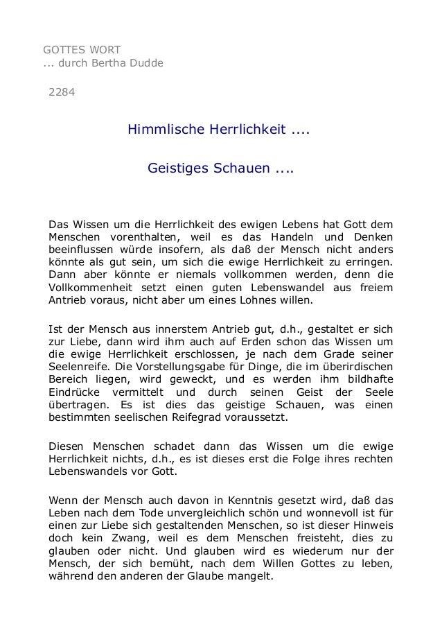 GOTTES WORT ... durch Bertha Dudde 2284 Himmlische Herrlichkeit .... Geistiges Schauen .... Das Wissen um die Herrlichkeit...