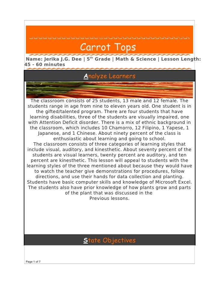 Carrot Tops Name: Jerika J.G. Dee | 5th Grade | Math & Science | Lesson Length: 45 - 60 minutes                           ...