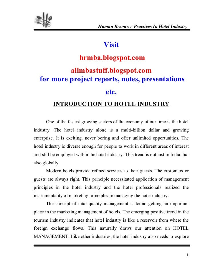 22945926 Hr Practices In Hotel Industry