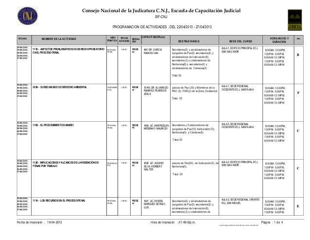 Consejo Nacional de la Judicatura C.N.J., Escuela de Capacitación Judicial                                                ...