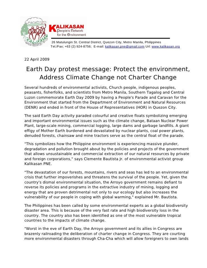 22april 2009 Pr Address Climate Change Not Charter Change