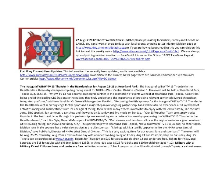 22 August 2012 1ABCT Weekly News Update: please pass along to Soldiers, Family and Friends of                             ...