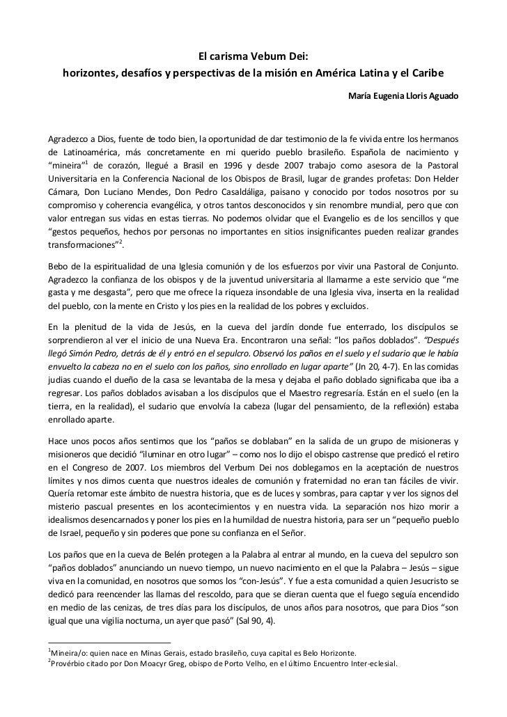 El carisma Vebum Dei:    horizontes, desafíos y perspectivas de la misión en América Latina y el Caribe                   ...