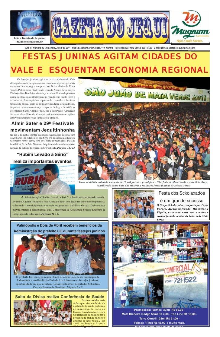 Leia o Gazeta do Jequi no     mundonoticias.com.br              Ano III - Número 35 - Almenara, Julho de 2011 - Rua Nossa ...