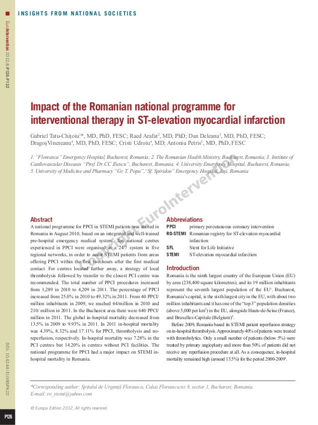 22 impact of the romanian national programme for interventional therapy in st elevation myocardial infarction