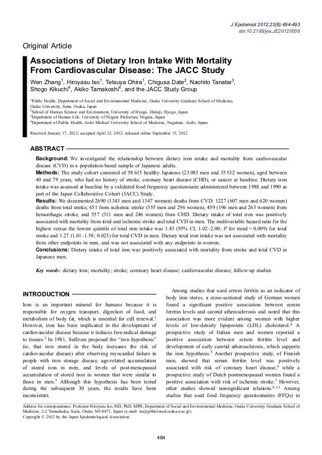 Original Article Associations of Dietary Iron Intake With Mortality From Cardiovascular Disease: The JACC Study Wen Zhang1...