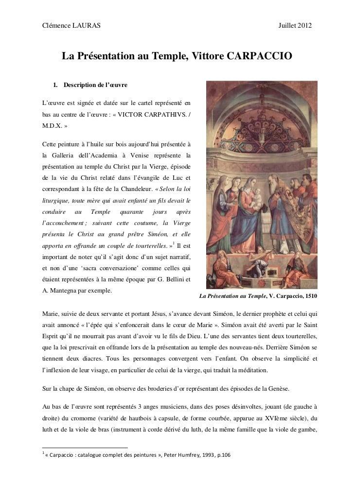 22 la présentation au temple, v. carpaccio c. lauras
