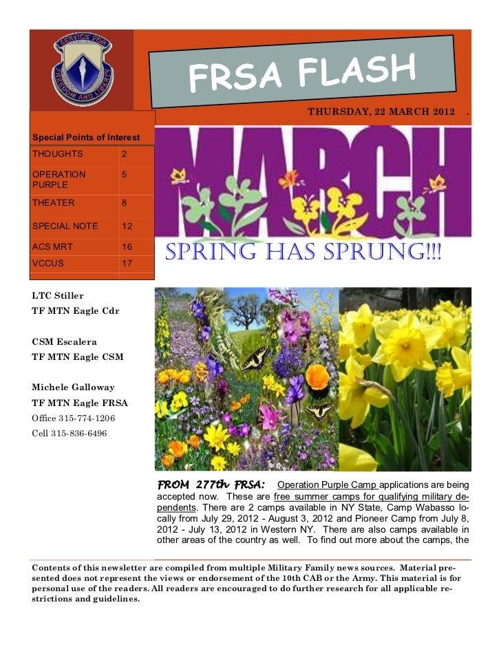 FRSA FLASH                                                                THURSDAY, 22 MARCH 2012                 .Special...
