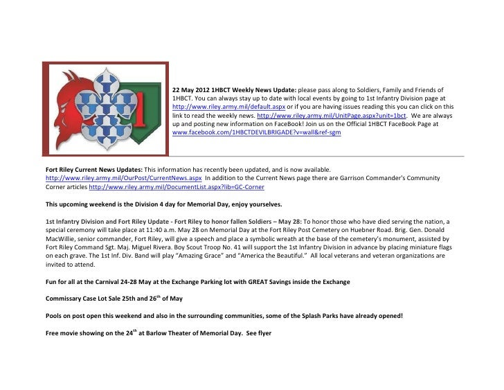22 May 2012 1HBCT Weekly News Update: please pass along to Soldiers, Family and Friends of                                ...