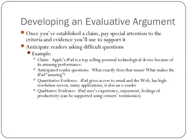 english 104 arguments of evaluation
