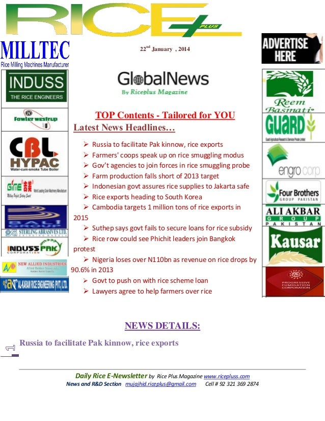 22nd January , 2014  TOP Contents - Tailored for YOU Latest News Headlines…  Russia to facilitate Pak kinnow, rice export...