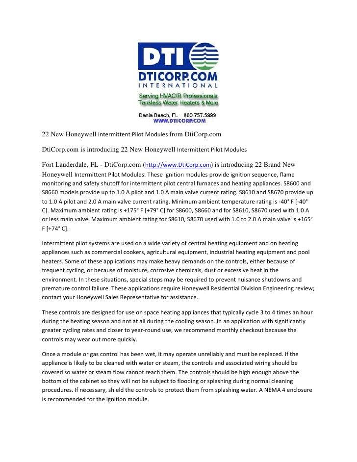 <br />22 New Honeywell Intermittent Pilot Modules from DtiCorp.com<b...