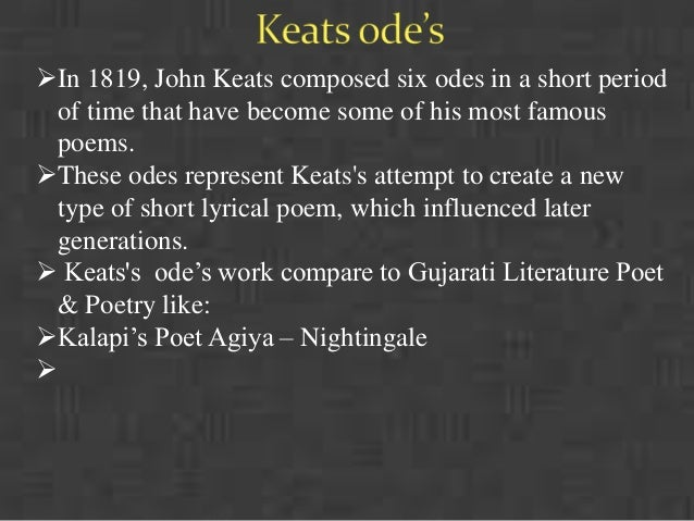"""comparing keats odes Keats: comparitive study of the two odes: keats's odes, on the level of superficial reading can be seen as a brilliant rendering of a scene, a season or a mood the final perfection of english landscape poetry the two odes, namely, """"ode to a nightingale"""" and """"ode on a grecian urn"""" appeal directly to the."""
