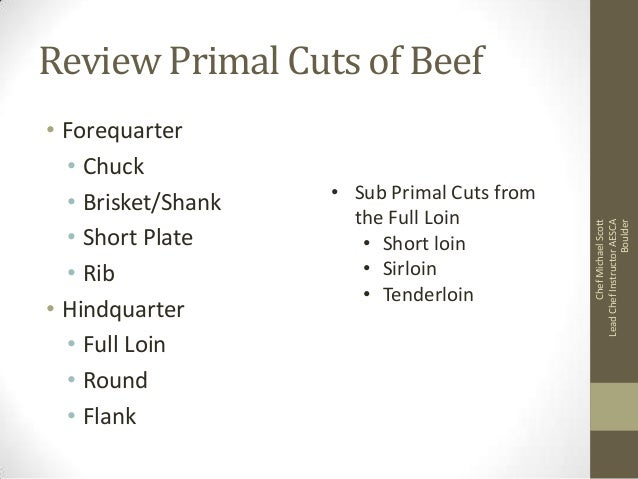 • Forequarter • Chuck • Brisket/Shank • Short Plate • Rib • Hindquarter • Full Loin • Round • Flank  • Sub Primal Cuts fro...