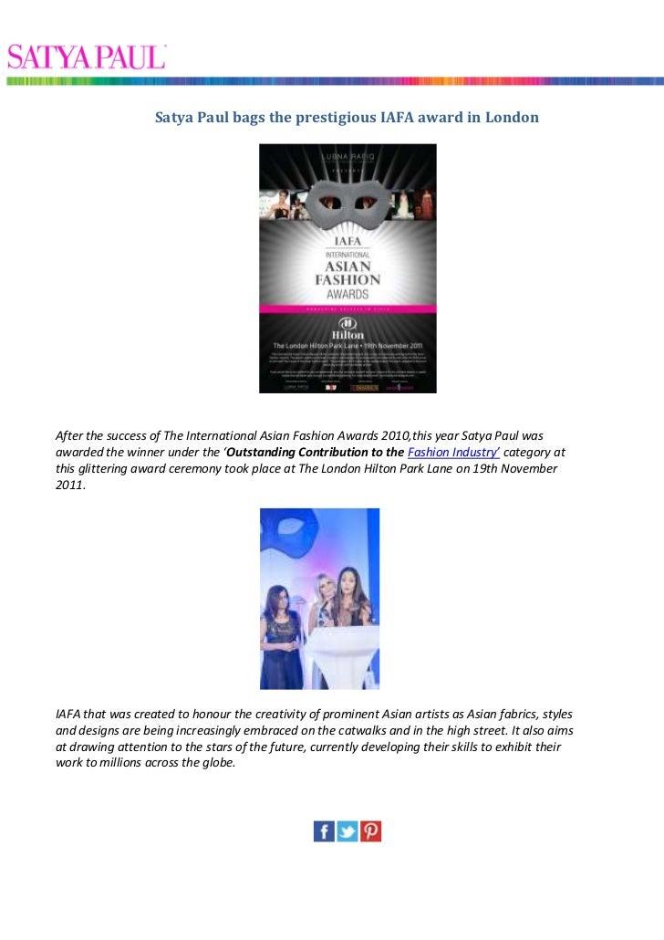 Satya paul bags the prestigious iafa award in london