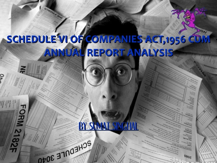 SCHEDULE VI OF COMPANIES ACT,1956 CUM ANNUAL REPORT ANALYSIS BY SUMAT SINGHAL