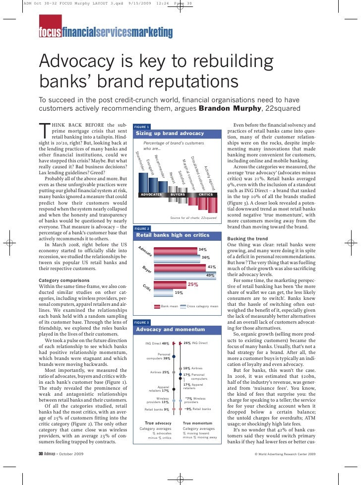 focusfinancialservicesmarketing  Advocacy is key to rebuilding banks' brand reputations To succeed in the post credit-crun...