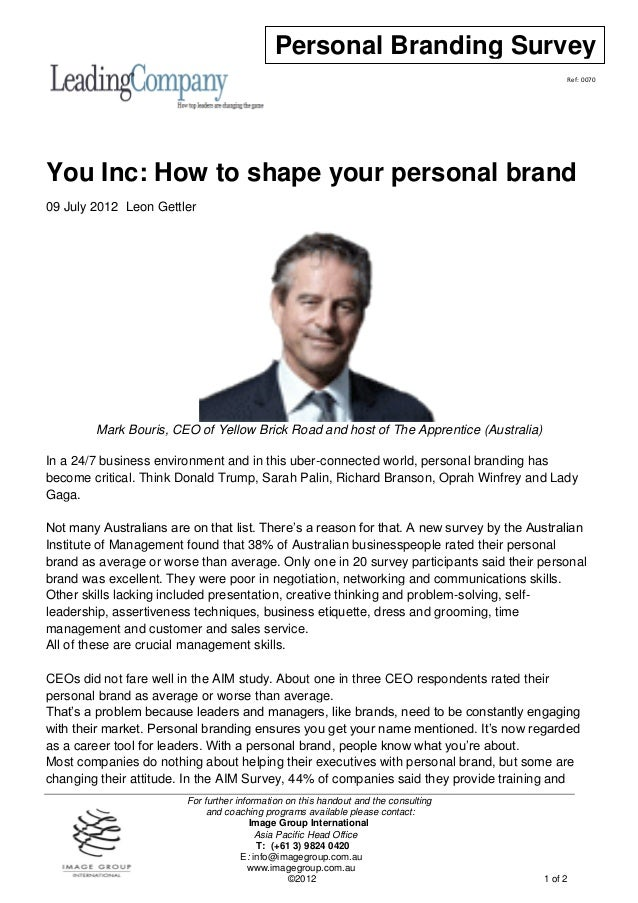 You inc   how to shape your personal brand
