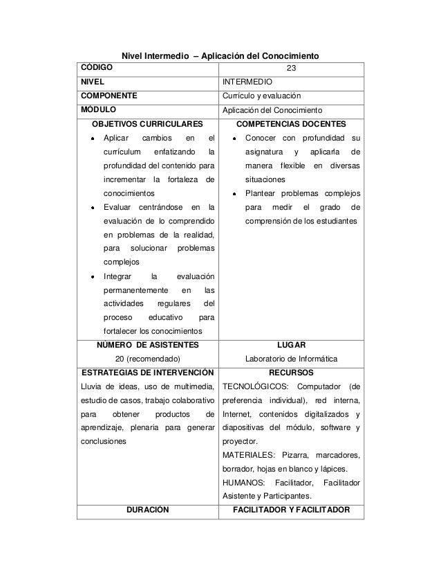 Nivel Intermedio – Aplicación del Conocimiento CÓDIGO 23 NIVEL INTERMEDIO COMPONENTE Currículo y evaluación MÓDULO Aplicac...