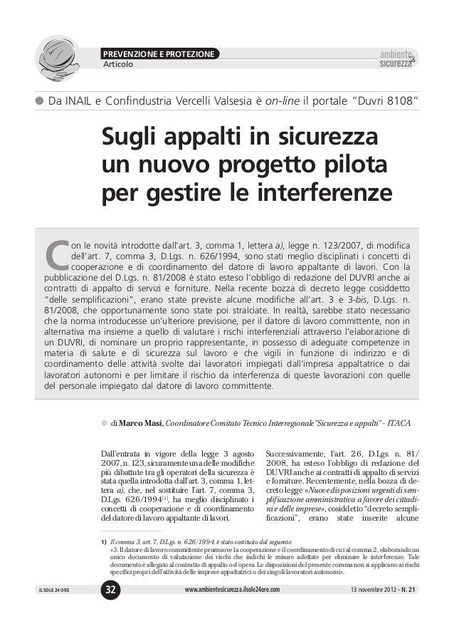 23   appalti sicurezza progetto pilota interferenze