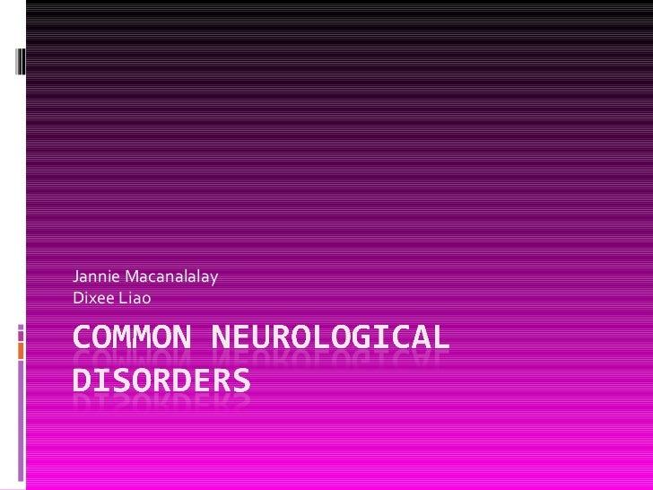 23. common neurological disorders