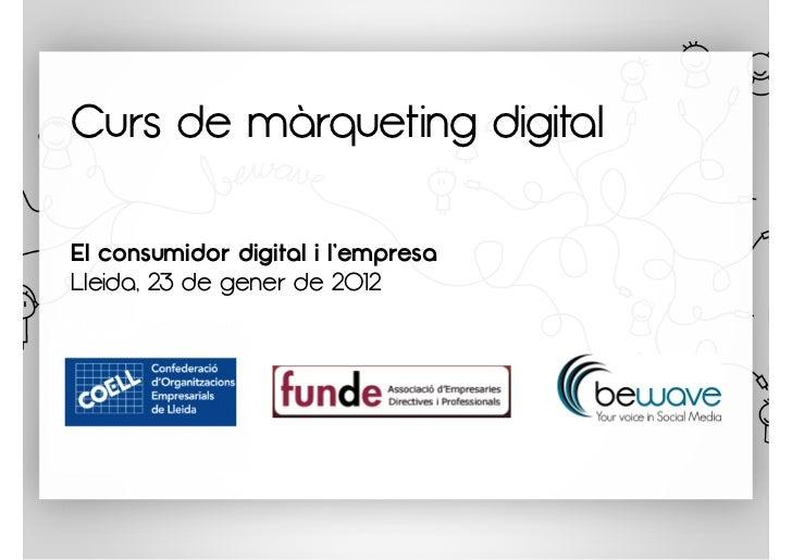 Curs de màrqueting digitalEl consumidor digital i l'empresaLleida, 23 de gener de 2012