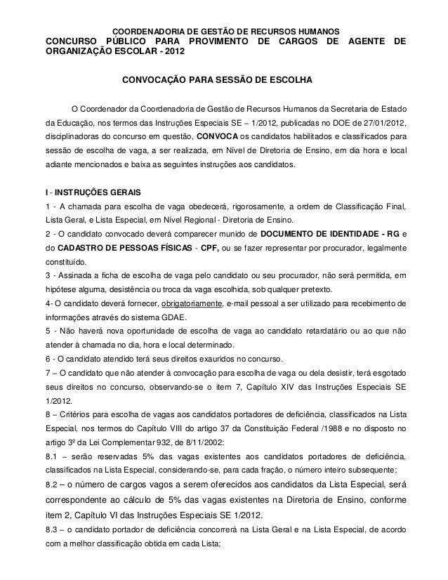 EDITAL DE CONVOCAÇÃO ESCOLHA AOE - 2012