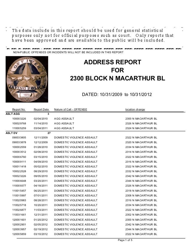 Irving Police Department Crime Report