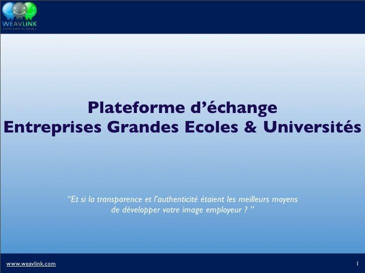 """Plateforme d'échange Entreprises Grandes Ecoles & Universités                       """"Et si la transparence et l'authentici..."""